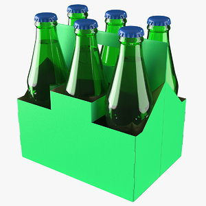 green soda bottle package 3D model