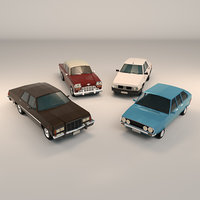 Low Poly Sedan Car Pack 01