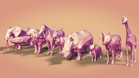 Low Poly Cartoon Animals Collection