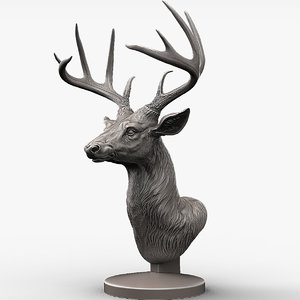 deer head sculpture 3D