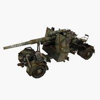 3D model flak 88 artillery