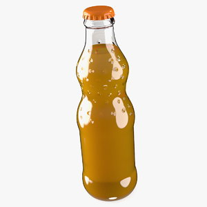 orange soda glass bottle 3D model