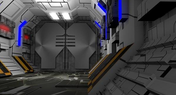 3D model sci fi corridor interior