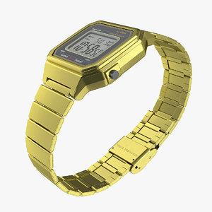 3D model golden electronic watch generic