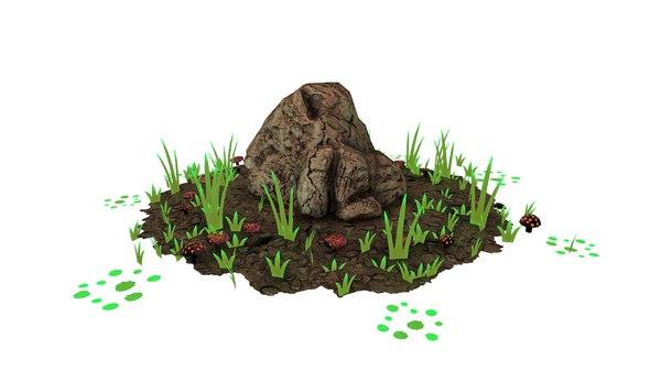 3D pbr rock stone model
