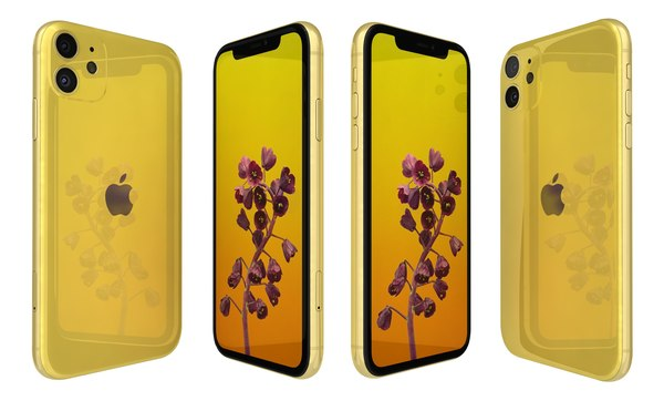3D apple iphone 11 yellow model