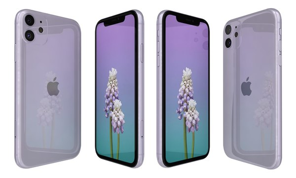 3D apple iphone 11 purple
