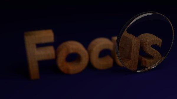 3D focus text animation model