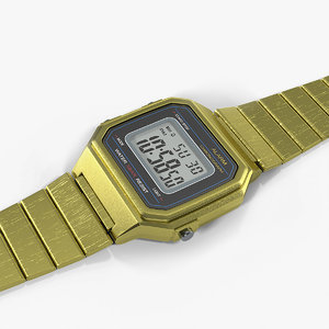3D golden classic electronic watch model