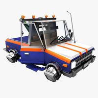 cartoon flying pickup truck model