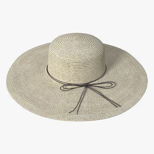 3D women straw hat yellow