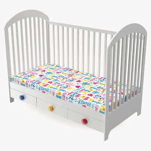 wooden infant bed 3D