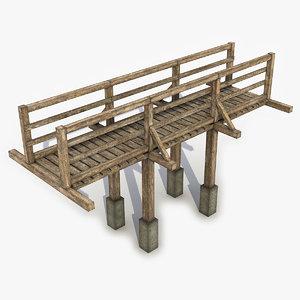 3D model bridge wood wooden
