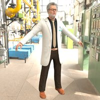 old scientist man 3D model