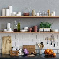 set kitchen utensils scandinavian 3D model