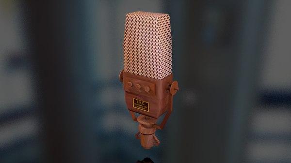 3D vintage tv microphone