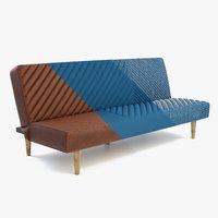 Futon Sofa Leather and Fabric