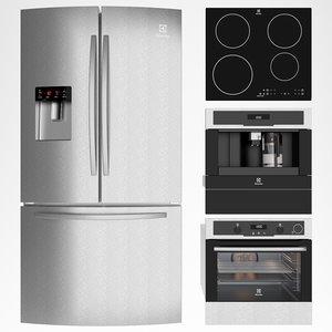 3D model electrolux refrigerator freezer