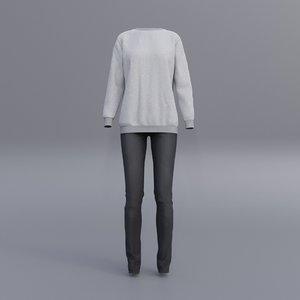 sweatshirts black denim pants 3D model