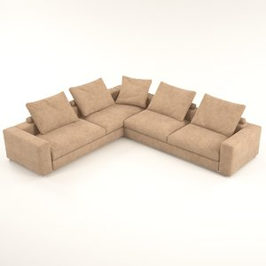 venus brown corner sofa 3D model