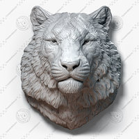 3D tiger animal head sculpture