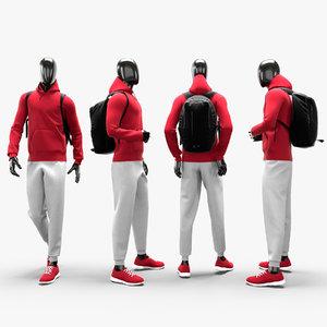 male sport suit backpack 3D