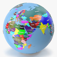 Earth Globe Geopolitical Named