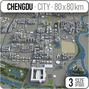 3D city chengdu surrounding - model