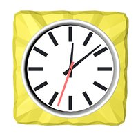 3D square yellow wall clock model