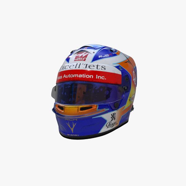 grosjean 2019 helmet 3D model
