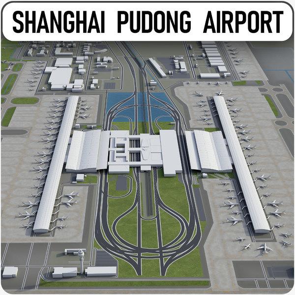 shanghai pudong international airport 3D model