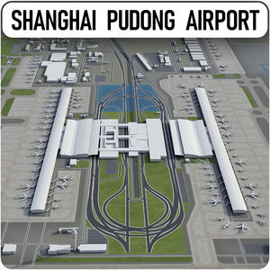 shanghai pudong international airport 3D model