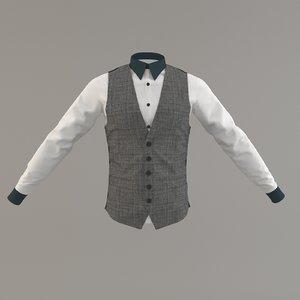 man suite tuxedo vest 3D model