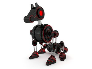 3D robot dog rigged