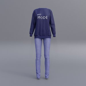female printed sweatshirts blue model