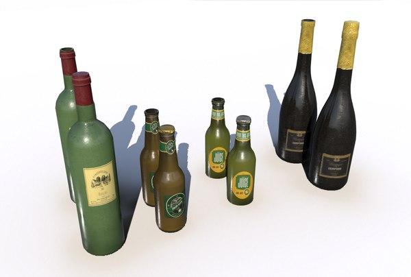 bottles wine beer juice 3D model