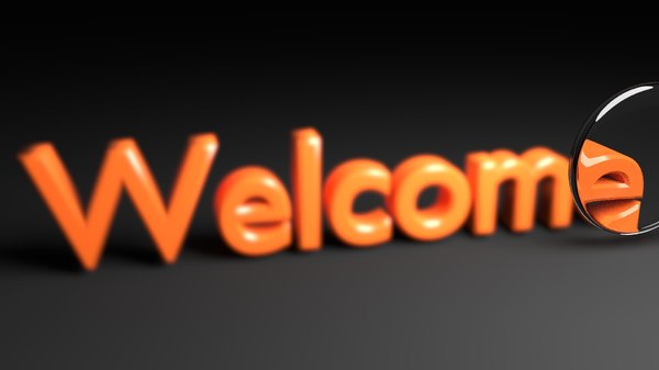 3D focused welcome text animation