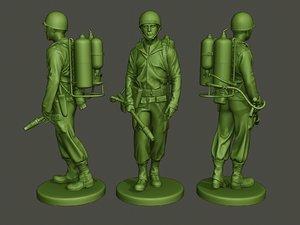 3D american soldier ww2 walk
