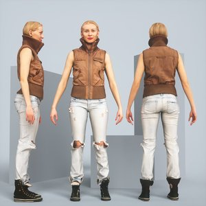 realistic posing blonde leather jacket 3D model