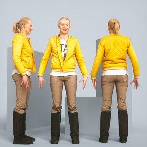 3D realistic posing blonde jacket