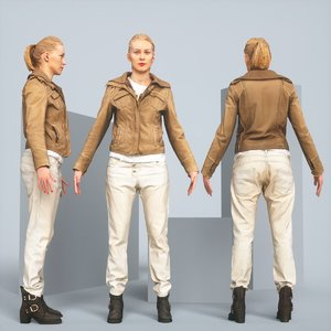 realistic posing blonde leather jacket 3D
