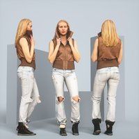 Blonde Attitude Leather Jacket and Jeans