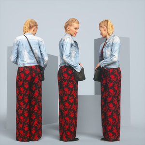 3D realistic blonde jacket jeans model