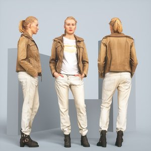 3D realistic blonde leather jacket