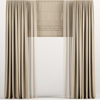 curtains tulle brown 3D
