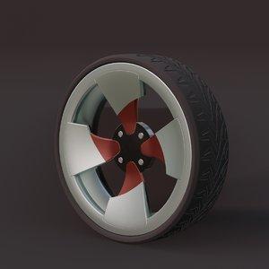 3D sports car wheel 1