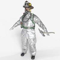 3D firefighter aluminized unreal model