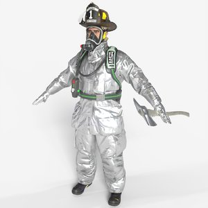 3D firefighter aluminized unreal model