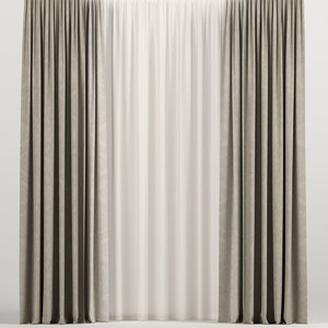 curtains tulle brown model