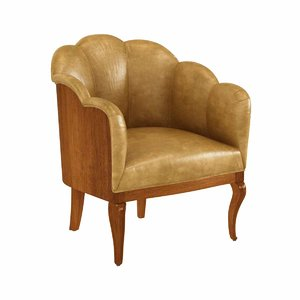 chair vintage leather channel 3D